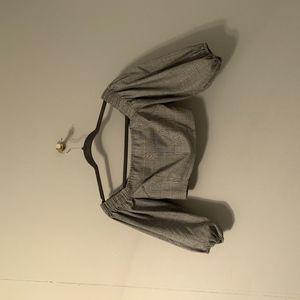 Plaid balloon sleeve crop top